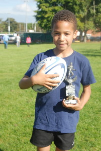 Will with Man of the Match Trophy