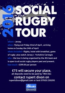 Jersey Rugby Tour flyer, April 2016