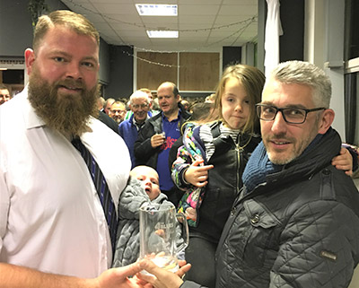 Billy Robinson, with daughter and Match-day Sponsor Jason Carpenter of Spiral Print