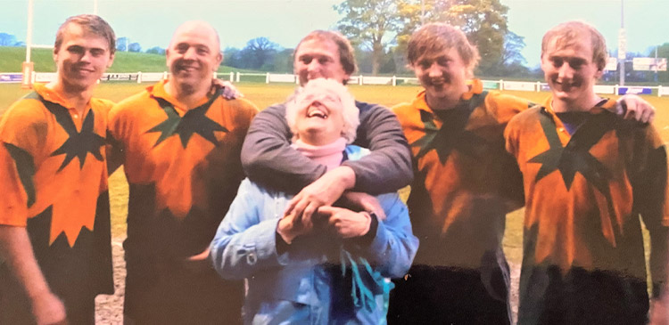 All five: Christian, Iain, David, Tommy and Jack, with Wendy, after Peter Harper's retirement game.