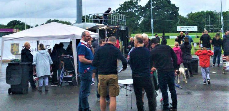 Damp conditions didn't deter members for the opening of the Priory Park Beer Garden