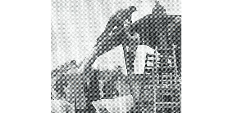 Members erecting the new club house in 1950